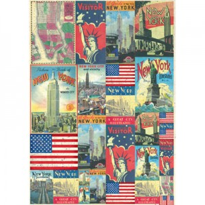 Φύλλo Polyester Felt - 50x70cm - New York Postcards - 1mm - 1τεμ