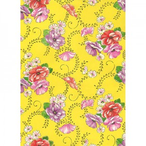 Φύλλo Polyester Felt - 50x70cm - Flowers on Yellow Background - 1mm - 1τεμ