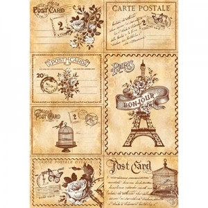 Φύλλo Polyester Felt - 50x70cm - Travel Paris Post Cards - 1mm - 1τεμ