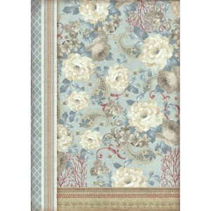 Stamperia Ριζόχαρτο για Decoupage - Dahlias On Light Blue Background - A3