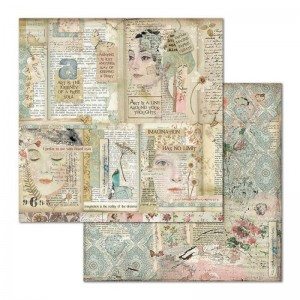 Χαρτί Scrapbooking Stamperia Διπλής Όψης - Faces & Writings - 31x30cm
