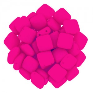 Χάντρα Tile - Bright Neon Pink 6mm ~29τεμ