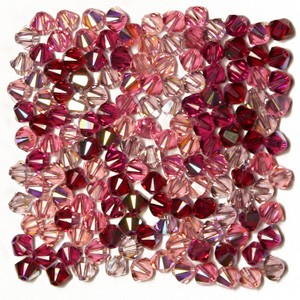 Swarovski 5328 XILION Bicone Pink Red Tones AB Mix 4mm - 30τεμ