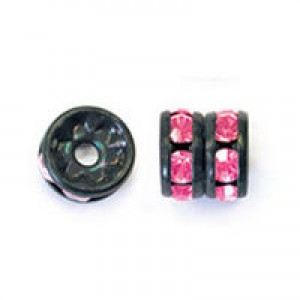 Rhinestone Rondelle Fuchsia on Black 8mm 6τεμ