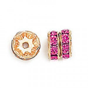 Rhinestone Rondelle Fuchsia on Gold 8mm 6τεμ