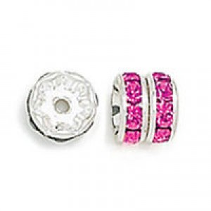 Rhinestone Rondelle Fuchsia on Silver 8mm 6τεμ