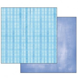 Χαρτί Scrapbooking Stamperia Διπλής Όψης - Blue Faded/Tartan - 31x30cm