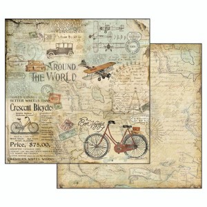 Χαρτί Scrapbooking Stamperia Διπλής Όψης - Around The World Tour Bike - 31x30cm