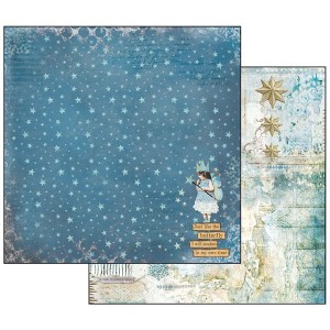 Χαρτί Scrapbooking Stamperia Διπλής Όψης - Blue Stars/Magic Wand - 31x30cm