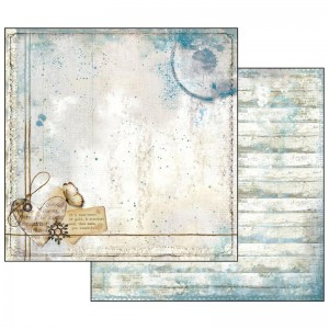 Χαρτί Scrapbooking Stamperia Διπλής Όψης - Blue Stars Heart and Writings - 31x30cm