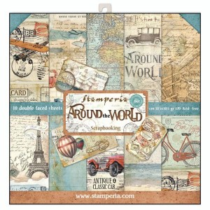 Σετ 10 Χαρτιά Scrapbooking Stamperia Διπλής Όψης - Around the World - 30x30cm