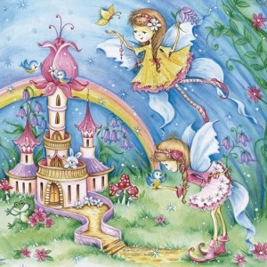 Χαρτοπετσέτα για Decoupage - Magic Fairies with Castle - 33x33cm - 1τεμ