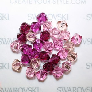 Swarovski 5328 XILION Bicone Pink Red Tones Mix 4mm - 30τεμ