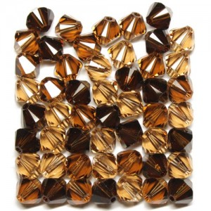 Swarovski 5328 XILION Bicone Mix Brown Harmony 6mm - 18τεμ