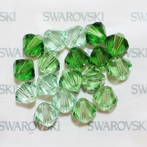 Swarovski 5328 XILION Bicone Green Harmony Mix 6mm - 18τεμ