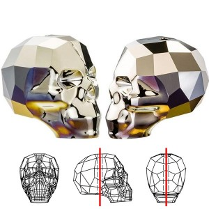 Swarovski 5750 Νεκροκεφαλή (Skull) Crystal Metallic Light Gold X2 13mm - 1τεμ