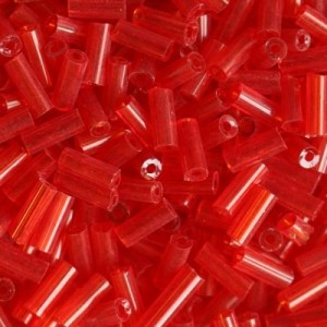 Χάντρα Glass Tubes Clear D.Red 4.5mm - 20gr
