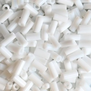 Χάντρα Glass Tubes Opaque White Snow 4.5mm - 20gr
