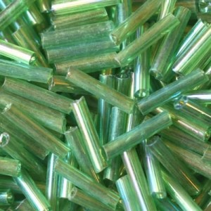 Χάντρα Glass Tubes Rainbow Lime Green Mix 9mm - 20gr