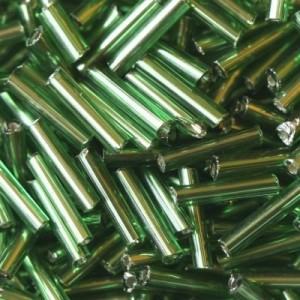 Χάντρα Glass Tubes Silver Lined Green 9mm - 20gr