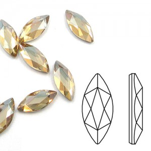 Swarovski 2201 Marquise Crystal Golden Shadow 14x6mm - 2τεμ