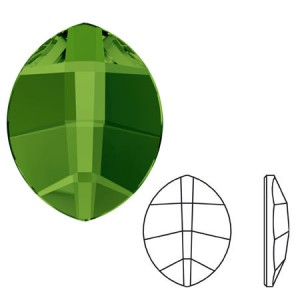 Swarovski 2204 Pure Leaf Dark Moss Green 6x4.8mm - 4τεμ