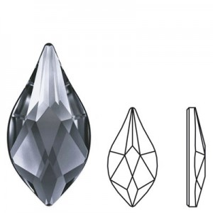 Swarovski 2205 Flame Crystal Silver Night 10x5mm - 2τεμ