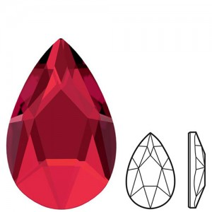 Swarovski 2303 Pear Flat Back 8x5mm Scarlet - 4τεμ