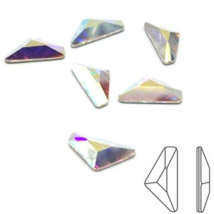 Swarovski 2739 Triangle Alpha GlueFix 10x5mm Crystal AB - 6τεμ