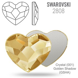 Swarovski 2808 Heart Crystal Golden Shadow 14mm - 2τεμ