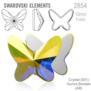 Swarovski 2854 Butterfly Crystal AB 12x10mm - 2τεμ