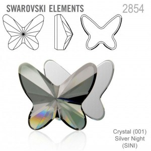 Swarovski 2854 Butterfly Crystal Silver Night 12x10mm - 2τεμ