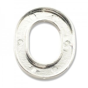 Katiedids 25x30mm Oval 4 Holes - Silver Plated - 4τεμ