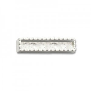 Katiedids Scalloped 35mm Rectangle 2 Holes - Silver Plated - 5τεμ