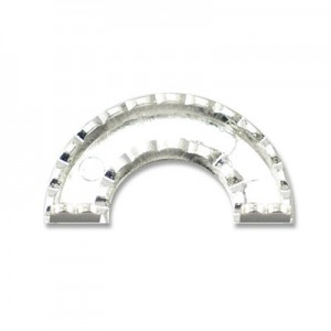 Katiedids Scalloped 27.5mm Curve 2 Holes - Silver Plated - 6τεμ