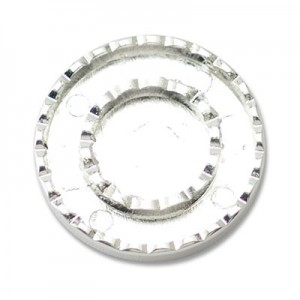 Katiedids Scalloped Ø25mm Round 3 Holes - Silver Plated - 4τεμ