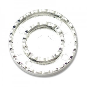 Katiedids Scalloped Ø25mm Round 2 Holes - Silver Plated - 4τεμ