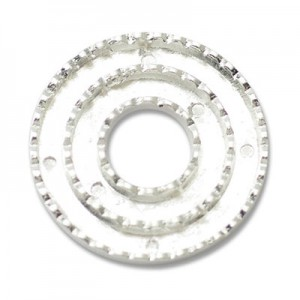 Katiedids Scalloped Ø35mm Round 4 Holes - Silver Plated - 2τεμ