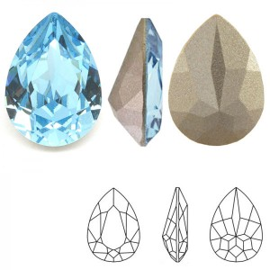 Swarovski 4320 Teardrop Aquamarine 14x10mm - 2τεμ