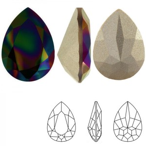 Swarovski 4320 Teardrop Crystal Rainbow Dark 14x10mm - 2τεμ