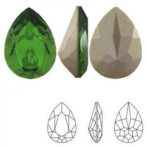 Swarovski 4320 Teardrop Fern Green 14x10mm - 2τεμ