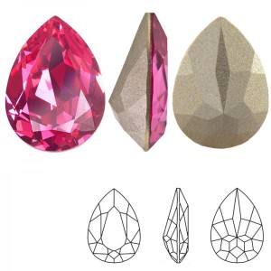 Swarovski 4320 Teardrop Rose 14x10mm - 2τεμ