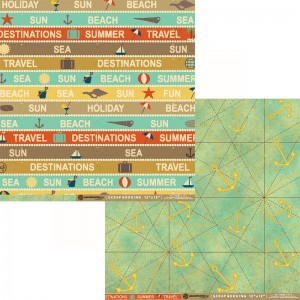 Χαρτί Scrapbooking Paco Art Center Διπλής Όψης - Travel - 31x30cm