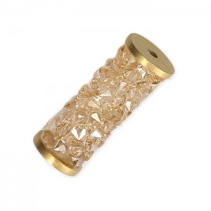 Swarovski 5950 Fine Rocks Tube, Crystal Golden Shadow, Gold End - 15mm - 1τεμ