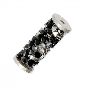 Swarovski 5950 Fine Rocks Tube, Jet & Crystal CAL, Stainless Steel End - 15mm - 1τεμ