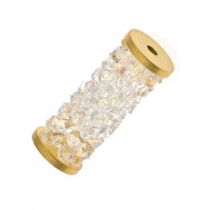 Swarovski 5950 Fine Rocks Tube, Crystal Moonlight, Gold End - 15mm - 1τεμ