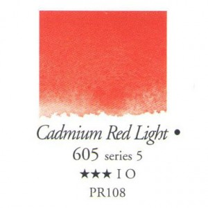 Χρώμα Ακουαρέλας Sennelier Half Pan -  605 Cadmium Red Light
