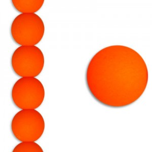 Χάντρα Glass Pearl Bright Neon Orange 6mm ~29τεμ