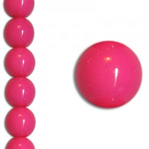 Χάντρα Glass Pearl Party Neon Pink 6mm ~29τεμ