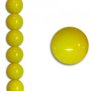 Χάντρα Glass Pearl Party Neon Yellow 6mm ~29τεμ